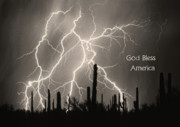 Lightning Bolts Posters - God Bless America BW Lightning Storm in the USA Desert Poster by James Bo Insogna