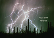 God Bless America Posters - God Bless America Color Lightning Storm in the USA Desert Poster by James Bo Insogna