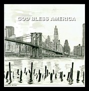 Brooklyn Bridge Drawings Posters - God Bless America Poster by Martin Lagewaard