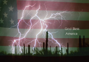 Unusual Lightning Posters - God Bless America Red White Blue Lightning Storm in the USA Dese Poster by James Bo Insogna