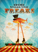 Top Hat Framed Prints - God Bless the Freaks Framed Print by Silas Toball