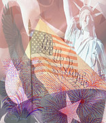 4th July Prints - God Bless the USA Print by Cheryl Young