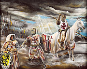 Templar Paintings - God Blood and Honor by John Palliser