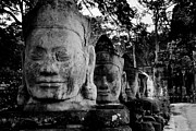 Angkor Thom Prints - God Heads At South Gate Of Angkor Thom Print by Cedric Favero