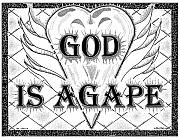 Ink Character Drawings - God Is Love - Agape by Glenn McCarthy Art and Photography