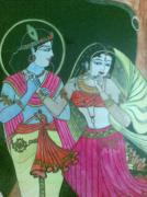 Himself Paintings - God Krishna by Rosy Rose