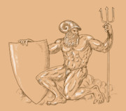 Muscular Digital Art Posters - God Neptune or poseidon Poster by Aloysius Patrimonio