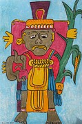 Mayan Paintings - God of Maize by Suzanne Buckland