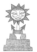 Primitive Art Drawings Prints - God of Sun Print by Michal Boubin