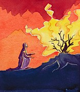 Bible Painting Prints - God speaks to Moses from the burning bush Print by Elizabeth Wang