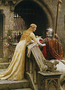 Lady In Red Painting Framed Prints - God Speed Framed Print by Edmund Blair Leighton
