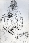 Nudes Paintings - God the Father and God the Son by Henri Lehmann