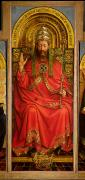 Christ Painting Posters - God the Father Poster by Hubert and Jan Van Eyck