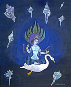Goddess Mythology Paintings - Goddess Crossing the Galaxy on Swan by Doris Blessington
