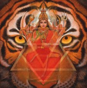 Tiger Painting Framed Prints - Goddess Durga Framed Print by Sue Halstenberg