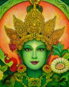 Goddess Art Prints - Goddess Green Taras Face Print by Sue Halstenberg