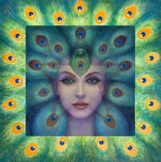 Feathers Painting Prints - Goddess Isis Visions Print by Sue Halstenberg