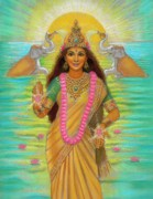 Lakshmi Framed Prints - Goddess Lakshmi Framed Print by Sue Halstenberg