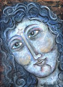 Icon Pastels Prints - Goddess of the Northern Star Print by Suzan  Sommers