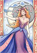 Princess Drawings - Goddess of the Waning Moon by Amy S Turner