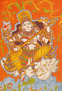 Swan Goddess Paintings - Goddess Saraswathy by Deepa Gopal Sunil