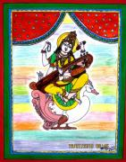 Swan Goddess Paintings - Goddess Saraswati by Vertikaa Singh
