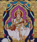 Religious Art Mixed Media Prints - Goddess Saraswati Print by Vimala Jajoo