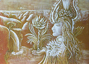 Egg Tempera Prints - Goddess with Lotus Print by Evelyn Cammarano