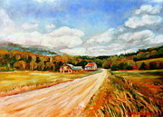 Quebec Houses Art - Gods Country Quebec Pastoral Landscape With Gentle Rolling Hills by Carole Spandau