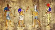 Profile Mixed Media Prints - Gods of Ancient Egypt Print by Michal Boubin