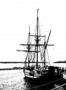Tall Ship Prints - Godspeed - Ship in Silhouette Print by Bill Cannon