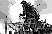 Thriller Digital Art Prints - Godzilla Print by George Pedro