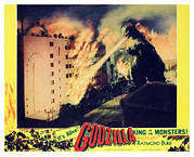 1950s Poster Art Framed Prints - Godzilla, King Of The Monsters, 1956 Framed Print by Everett