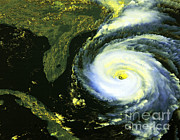 Destructive Photo Framed Prints - Goes 8 Satellite Image Of Hurricane Fran Framed Print by Science Source