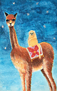 Llama Mixed Media Posters - Goin For a Ride Poster by Heather M Nelson