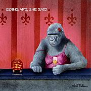 Happy Hour Framed Prints - Going ape she said... Framed Print by Will Bullas