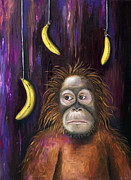 Orangutan Painting Acrylic Prints - Going Bananas Acrylic Print by Leah Saulnier The Painting Maniac