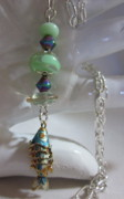 Disc Jewelry - Going Fishin Blue Fish Necklace by Janet  Telander