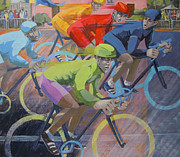 Cyclists Paintings - Going for Gold by Angela Brittain