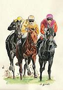 Jockey Paintings - Going for it by Jana Goode