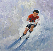 Ski Painting Originals - Going for It by Phyllis Howard