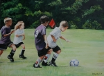 Soccer Painting Framed Prints - Going for the Goal Framed Print by Charlotte Yealey