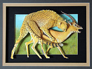 Leopard Reliefs Framed Prints - Going For The Neck Framed Print by John Hebb