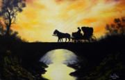 Horse And Buggy Painting Posters - Going Home From Work Poster by David Paul