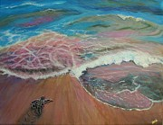 Baby Sea Turtle Paintings - Going Home by Jennifer Belote