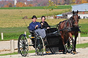 Amish Community Photo Metal Prints - Going Home Metal Print by Lisa  DiFruscio