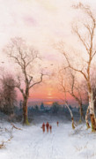 Winter Sunset Paintings - Going Home by Nils Hans Christiansen