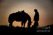 Cowboy Metal Prints - Going Home Metal Print by Sandra Bronstein