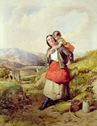Caring Mother Painting Framed Prints - Going Home Framed Print by William Lee