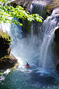 Canoe Waterfall Metal Prints - Going In   Metal Print by Ansel Price